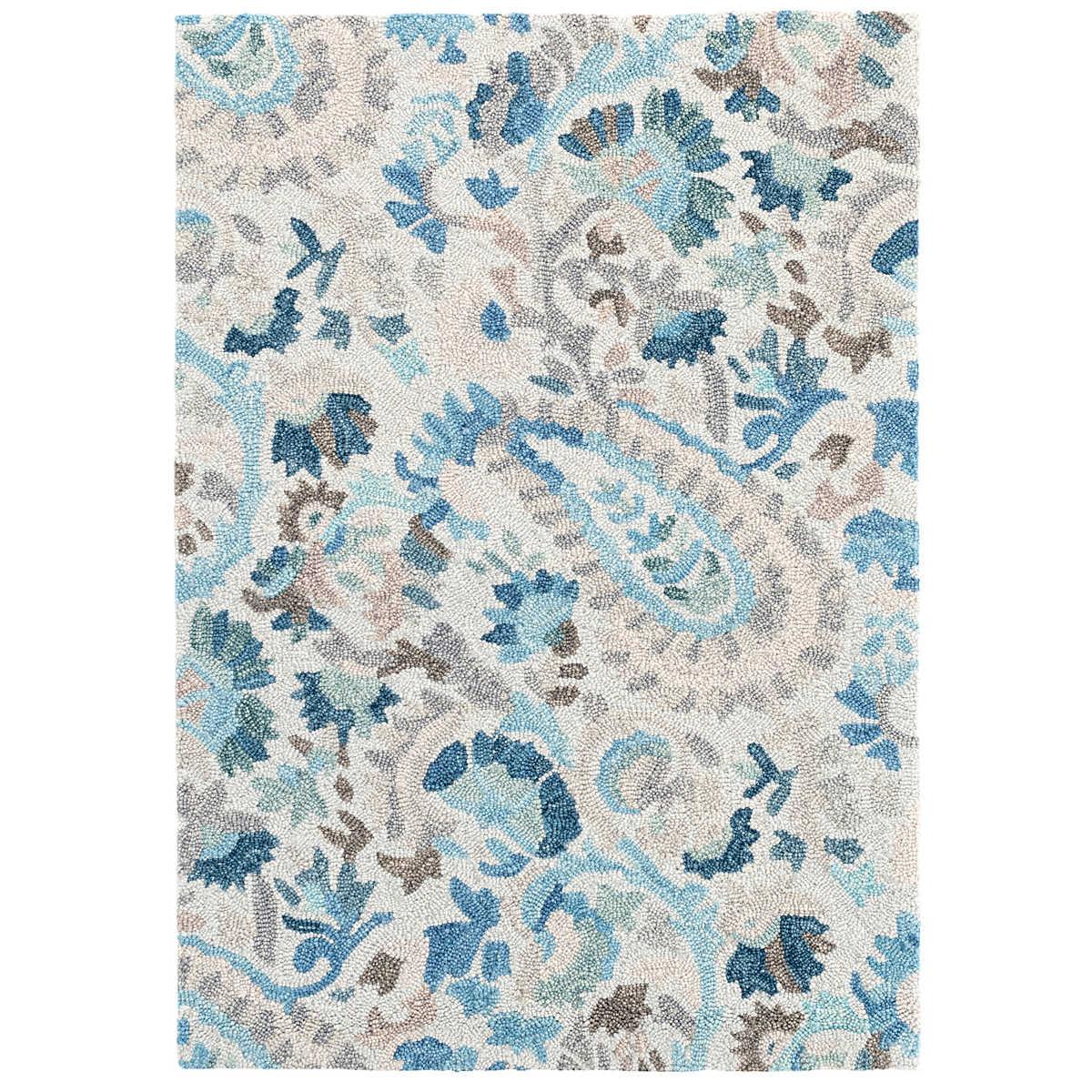 Ines Blue Micro Hooked Wool Rug | Dash & Albert