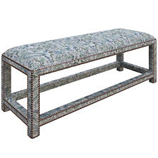 Ines Linen Blue Lexington Bench