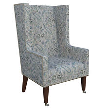 Ines Linen Blue Neo-Wing Chair