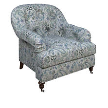 Ines Linen Blue Norfolk Chair