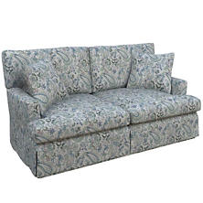 Ines Linen Blue Saybrook 2 Seater Slipcovered Sofa