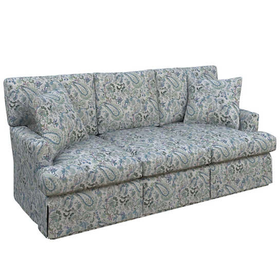 Ines Linen Blue Saybrook 3 Seater Slipcovered Sofa