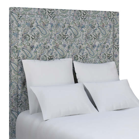 Ines Linen Blue Stonington Tufted Headboard