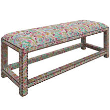 Ines Linen Grey Lexington Bench