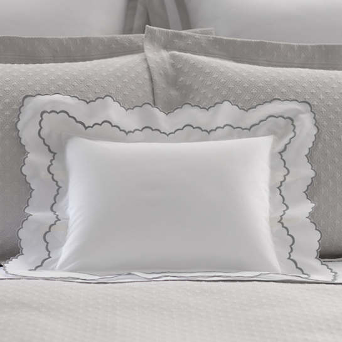 Isabella White/Zinc Decorative Pillow