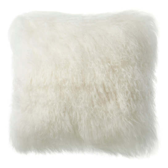Longwool Tibetan Sheepskin Ivory Decorative Pillow