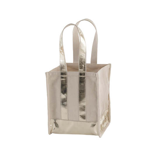 Kelley Canvas Natural/Gold Compartment Tote Bag