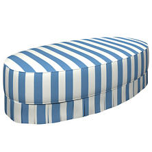 Alex French Blue Kendall Box Pleat Ottoman