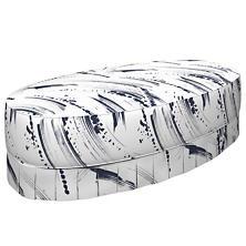 Brushstroke White Kendall Box Pleat Ottoman