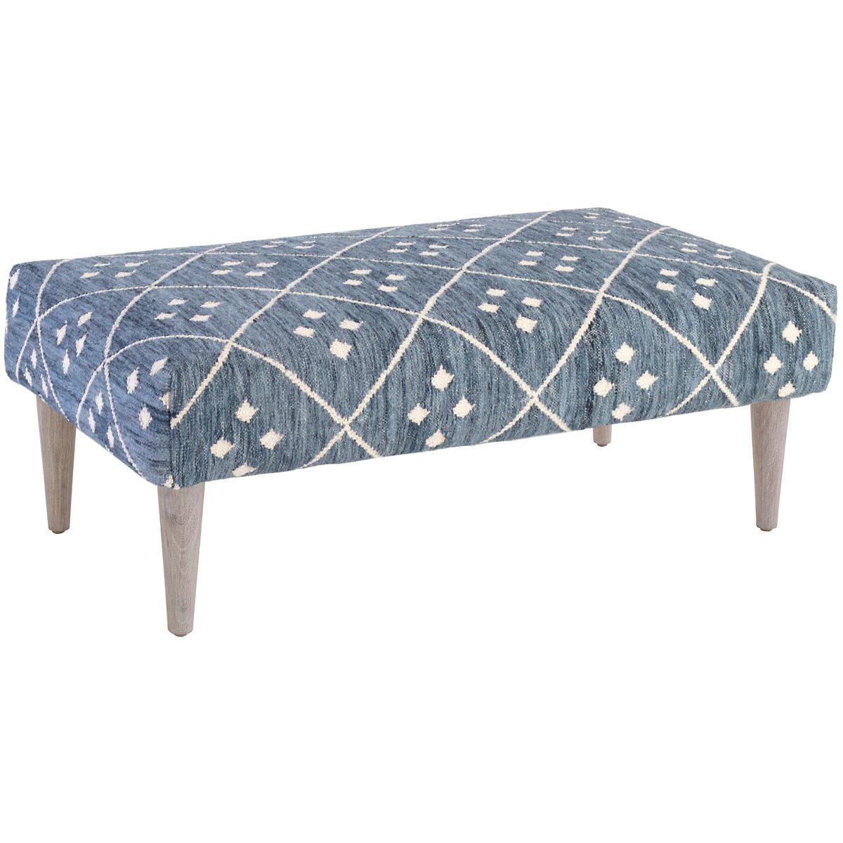 Kota Indigo Tapered Cerused Oak Leg Rug Ottoman Furniture