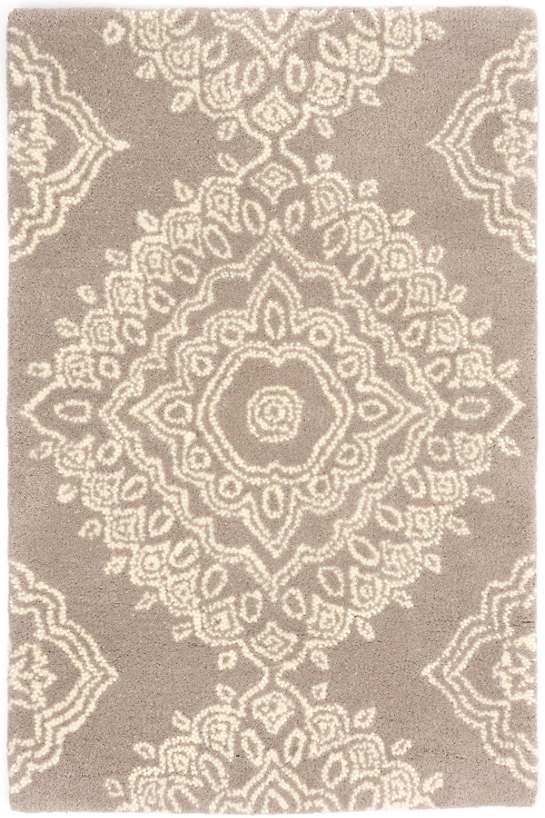 lace medallion wool tufted rug | the outlet