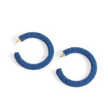 Lapis Seed Bead Hoop Earrings