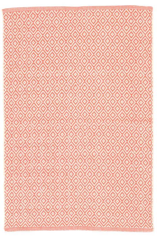 Lattice Coral Woven Cotton Rug