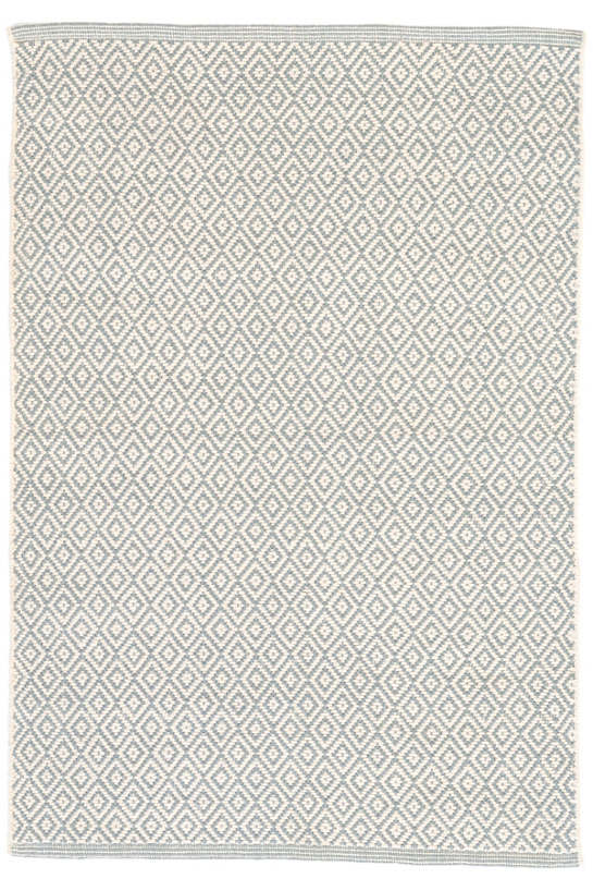 Lattice Swedish Blue Woven Cotton Rug