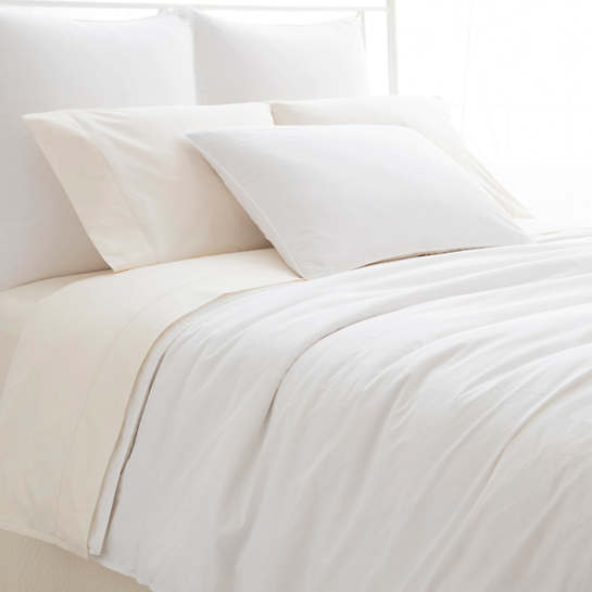 Laundered Hem White Duvet Cover