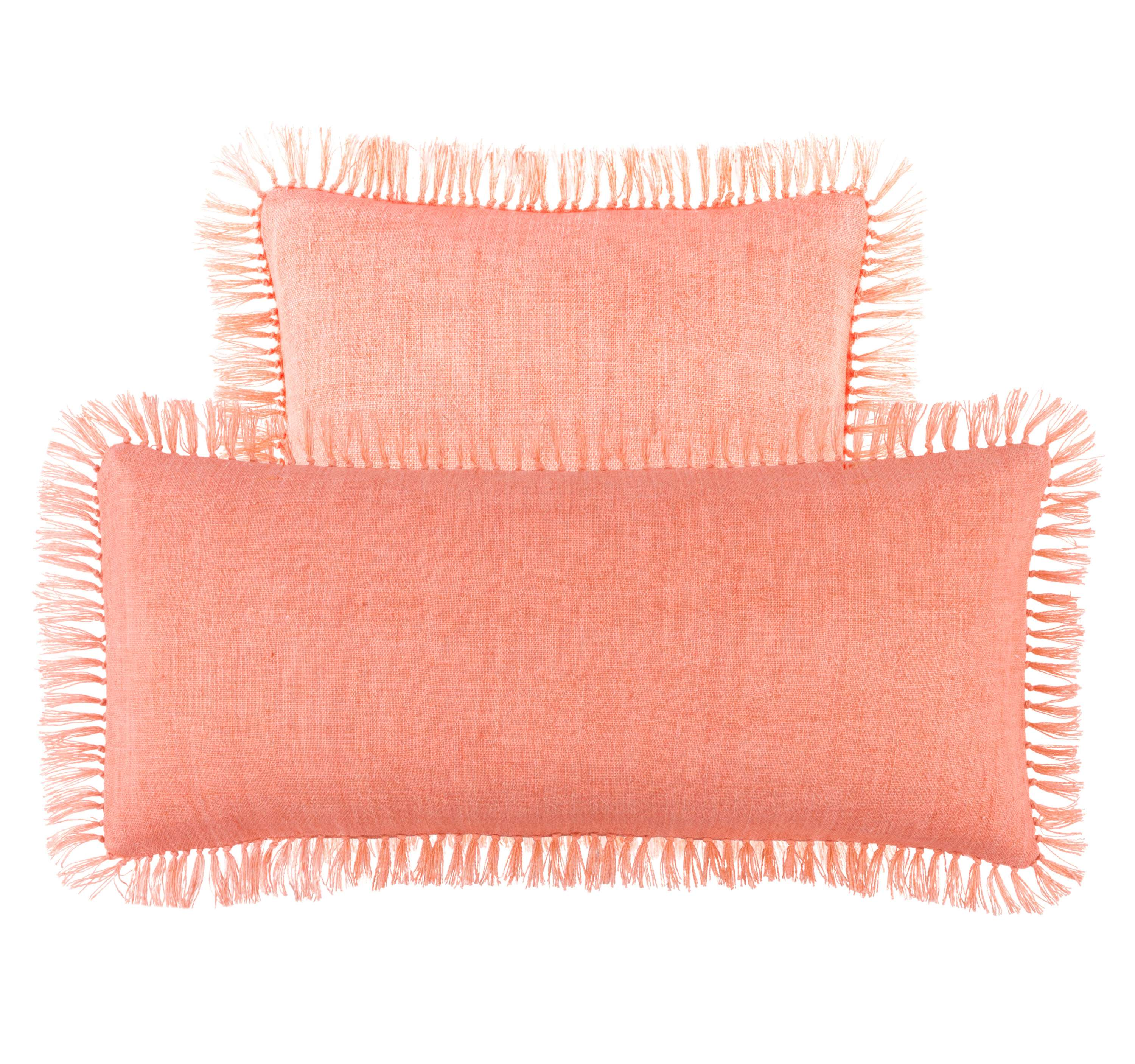 Laundered Linen Coral Decorative Pillow | Pine Cone Hill