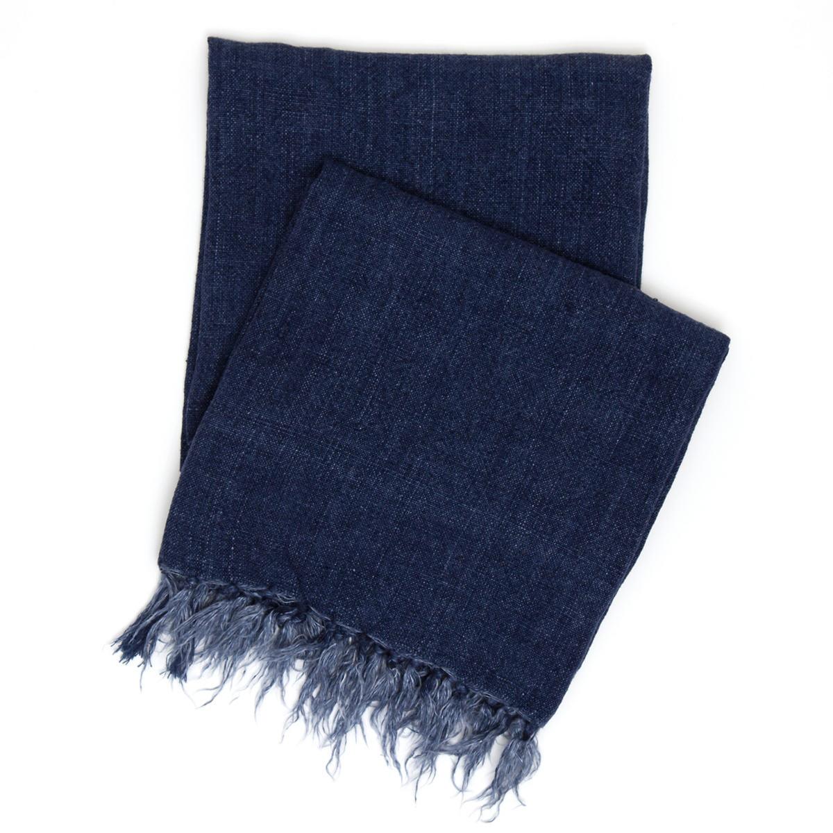 Laundered Linen Indigo Throw