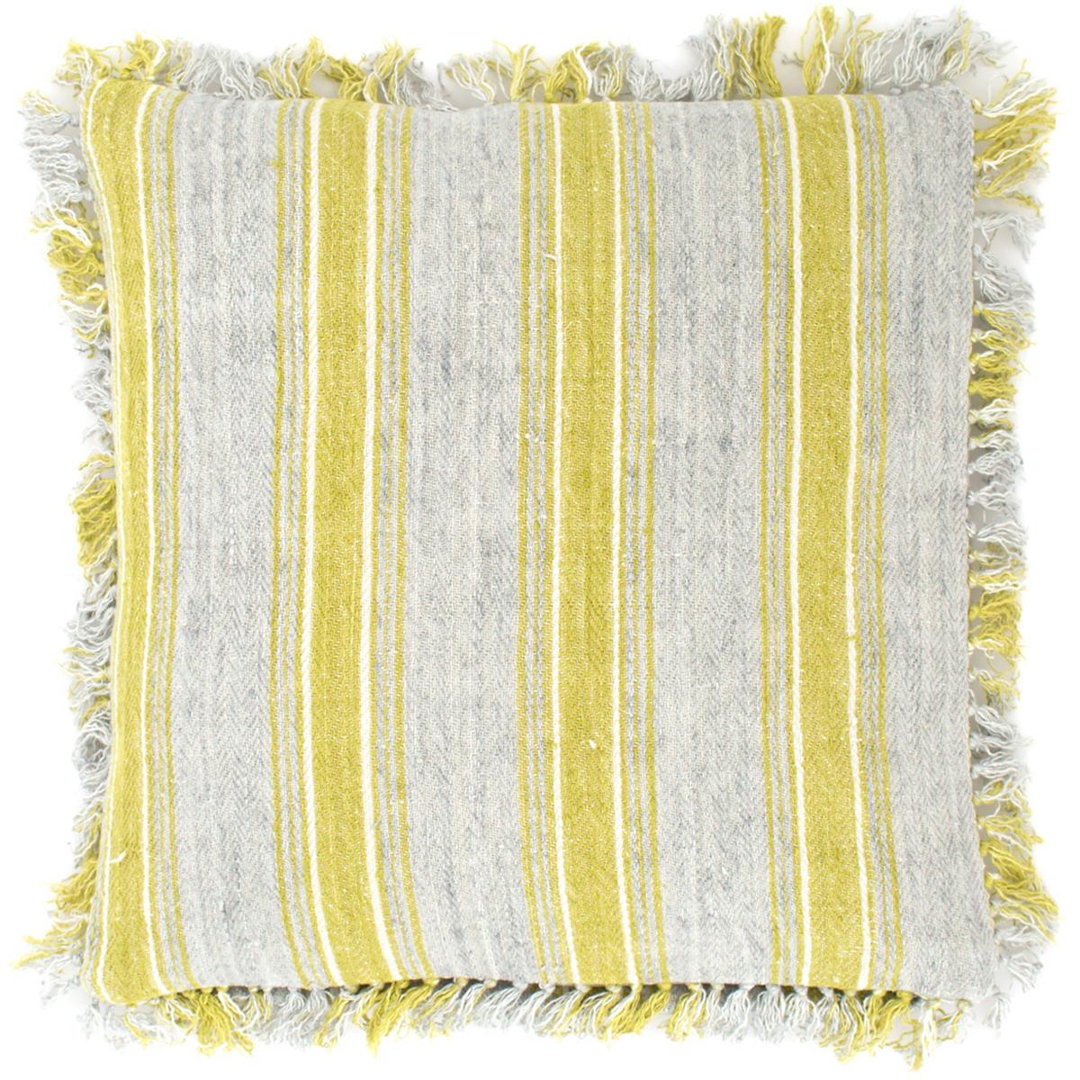 Laundered Linen Ticking Blue Decorative Pillow