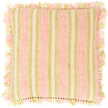 Laundered Linen Ticking Pink Decorative Pillow