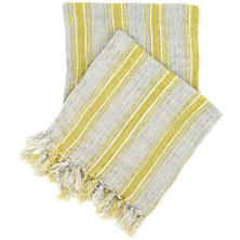 Laundered Linen Ticking Blue Throw