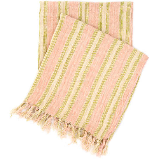 Laundered Linen Ticking Pink Throw