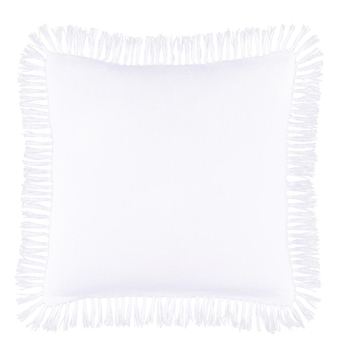 Laundered Linen White Decorative Pillow