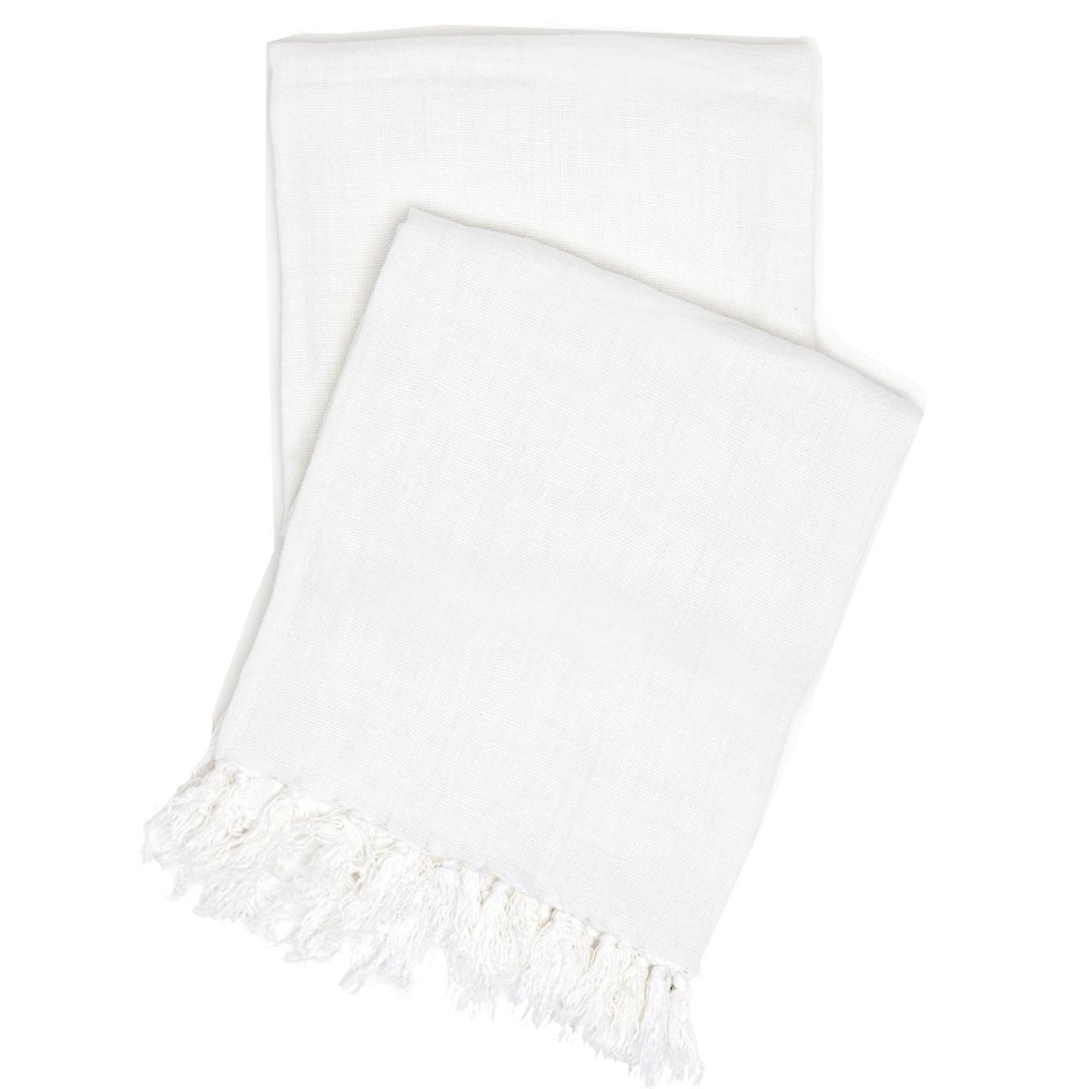 Laundered Linen White Throw