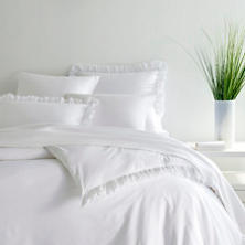 Laundered Ruffle White Duvet Cover