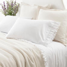 Laundered Ruffle White Pillowcases