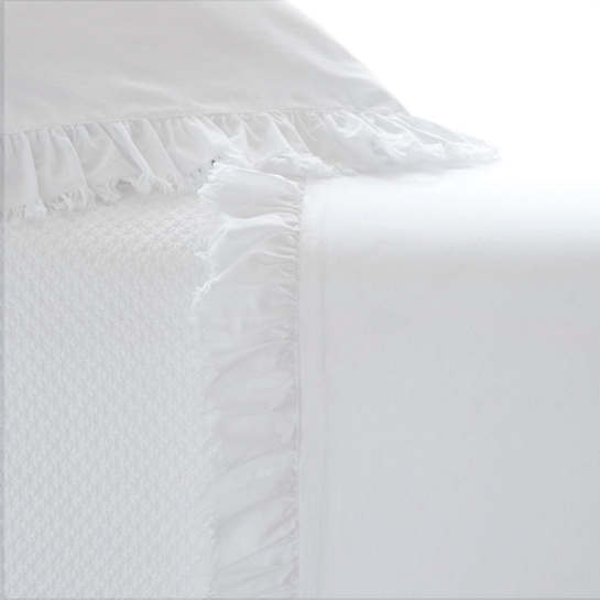 Laundered Ruffle White Sheet Set