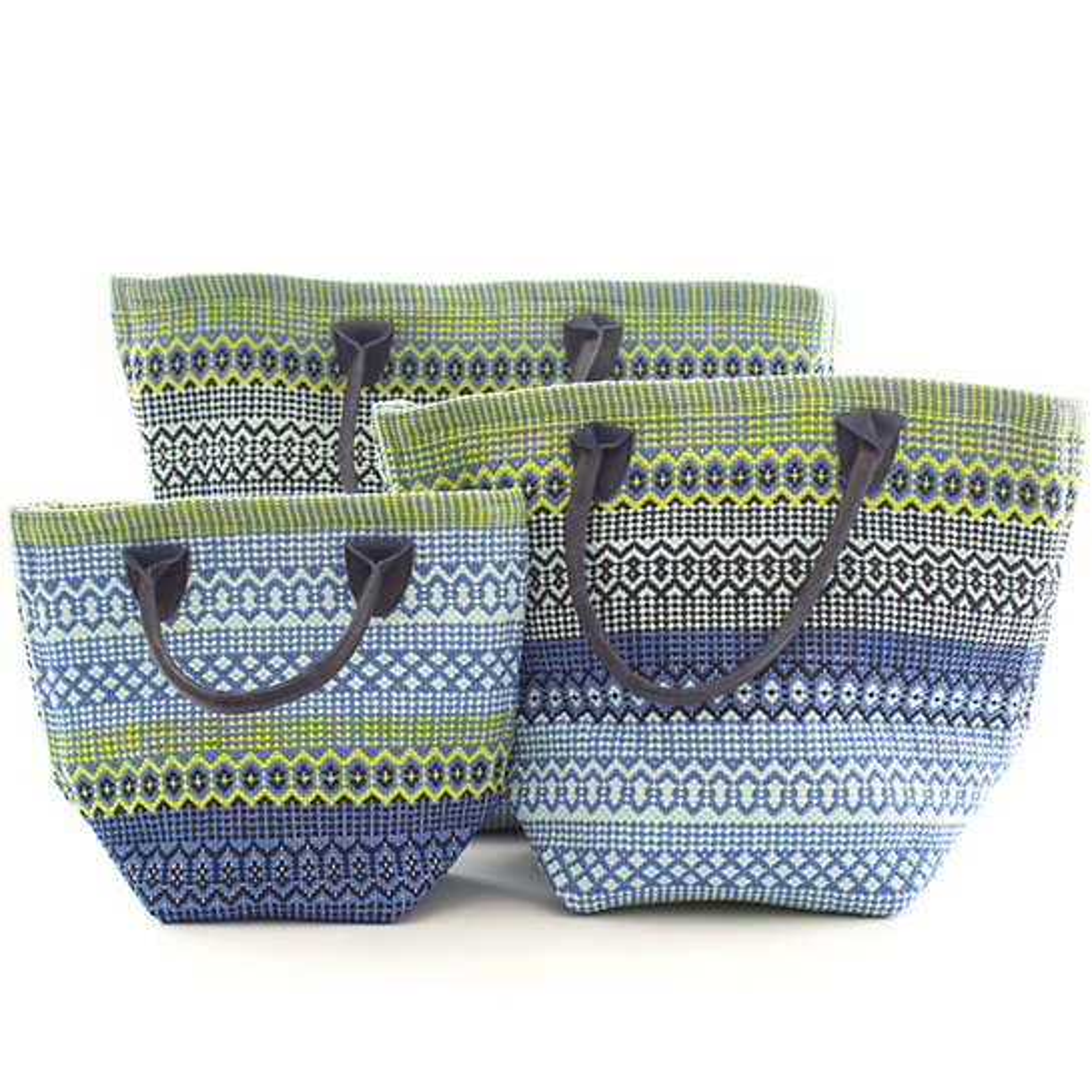 Le Tote Fiesta Stripe French Blue/Green Tote Bag