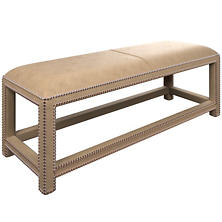 Buckskin Stone Lexington Leather Bench