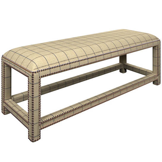 Chatham Tattersall Navy/Brown Lexington Bench