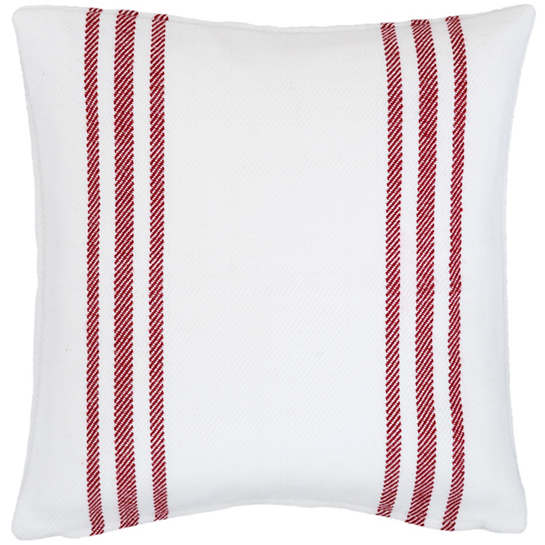 Cape Stripe White/Red Indoor/Outdoor Pillow