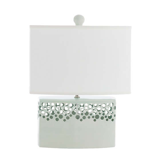 Light Celadon Lacey Brick Table Lamp
