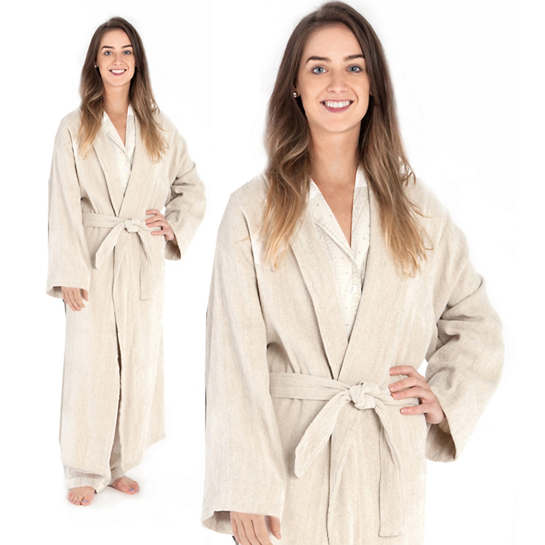 Linen Chenille Natural Robe