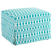 Links Turquoise Saybrook Slipcovered Ottoman