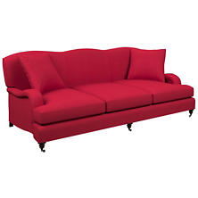 Estate Linen Red Litchfield 3 Seater Sofa