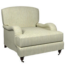 Adams Ticking Light Blue Litchfield Chair