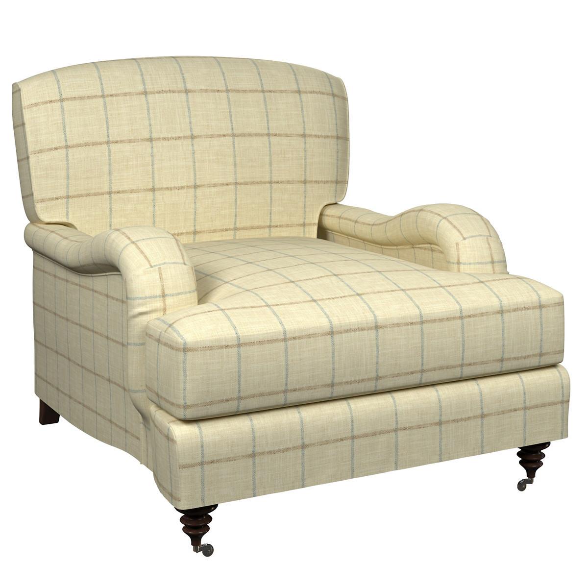 Chatham Tattersall Light Blue/Natural Litchfield Chair