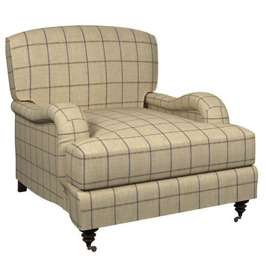 Chatham Tattersall Navy/Brown Litchfield Chair