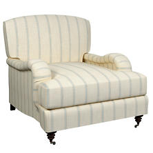 Glendale Stripe Light Blue/Natural Litchfield Chair