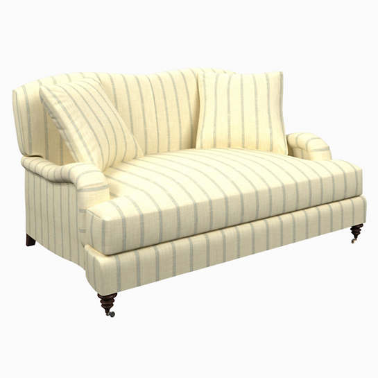 Glendale Stripe Light Blue/Natural Litchfield Loveseat