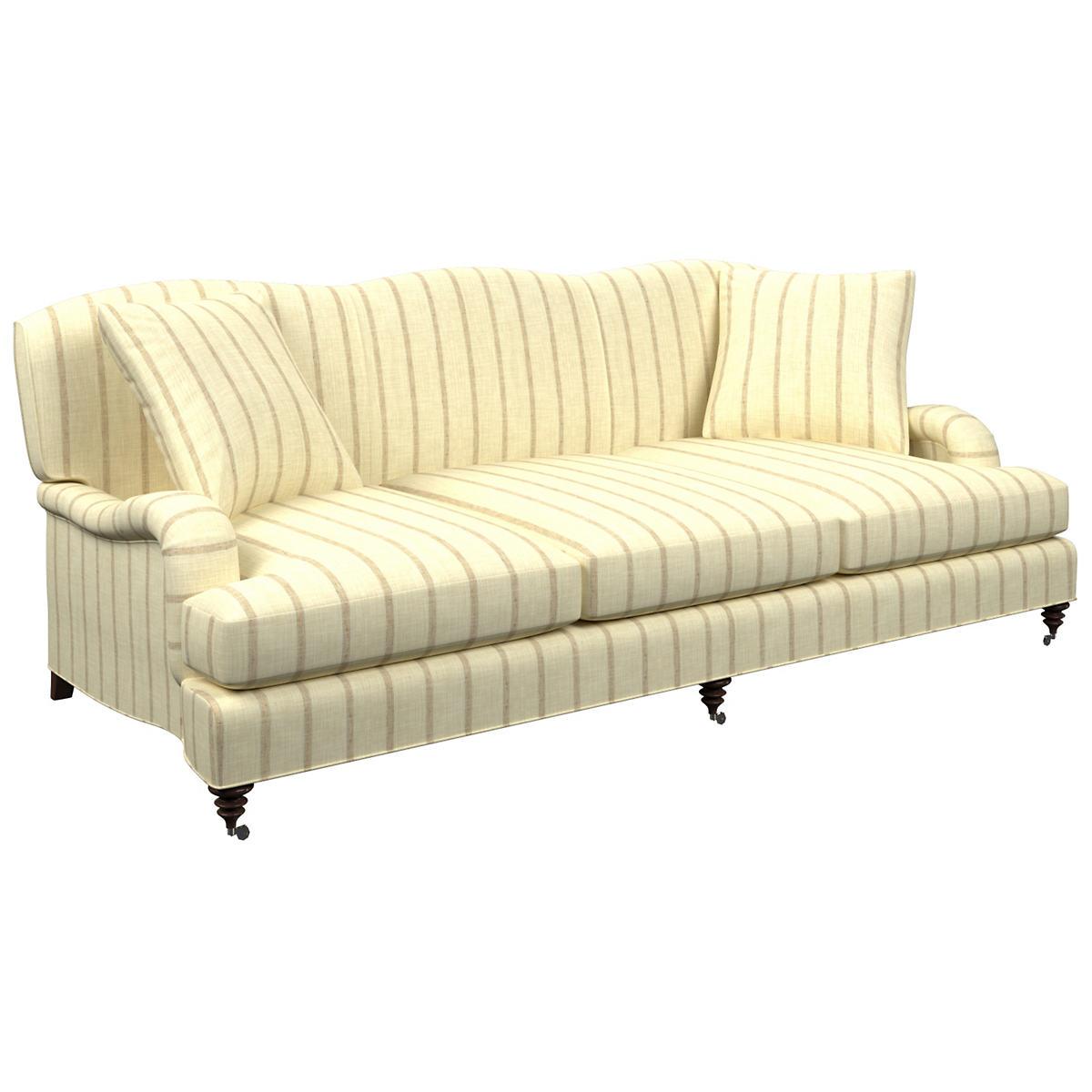Glendale Stripe Natural/Grey Litchfield 3 Seater Sofa