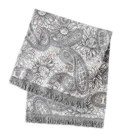 Loto Chenille Silver Throw