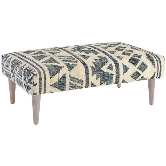Luru Tapered Cerused Oak Leg Rug Ottoman