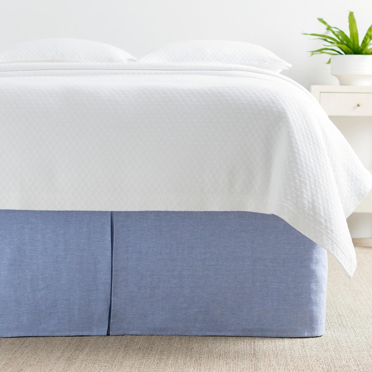 Lush Linen French Blue Bed Skirt