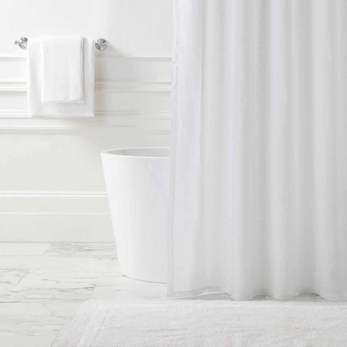 Lush Linen White Shower Curtain