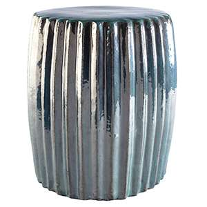 Pleated Patina Ceramic Stool