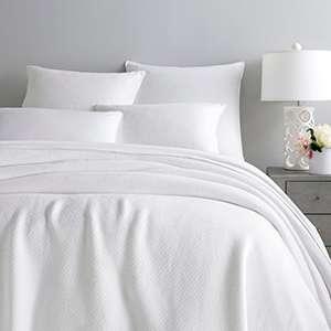 Quinn White Cotton Blanket